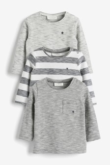 Monochrome Stripe 3 Pack Stretch T-Shirt (0mths-3yrs)