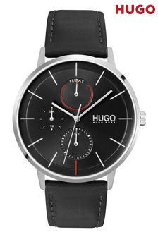 HUGO Exist Leather Strap Watch