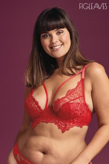 Figleaves Red Ava Exposed Wire Underwired Plunge Bra