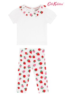 Cath Kidston Cream Sweet Strawberry Baby Collar T-Shirt And Leggings Set