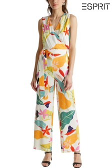Esprit Natural Sleeveless V-Neck Printed Jumpsuit