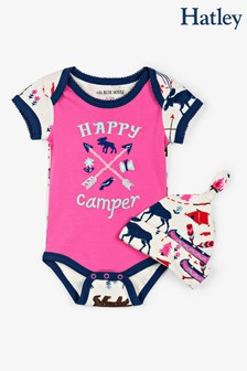 Hatley Pink Pretty Sketch Country Baby Bodysuit With Hat