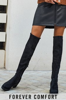 Black Forever Comfort® Over The Knee Cleat Heeled Boots