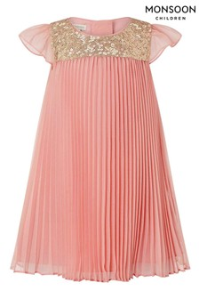 Monsoon Pink Baby Polly Pleat Flare Flutter Dress