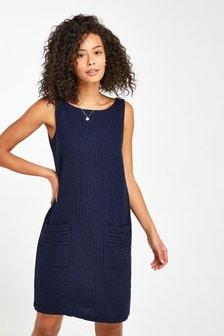 Navy Blue Linen Blend Shift Dress