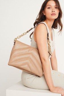Camel Quilted Chain Shoulder Bag