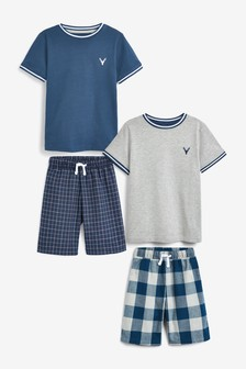 Blue/Grey 2 Pack Check Short Pyjamas (1.5-16yrs)