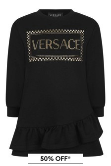 Girls Black Cotton Sweater Dress