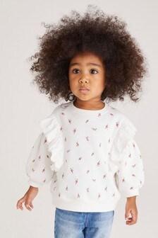 Ecru Floral Broderie Frill Sweatshirt (3mths-7yrs)