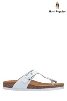 Hush Puppies White Kayla Slip-On Sandals