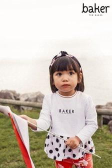 Baker By Ted Baker Girls Black/White Polka Hem Top