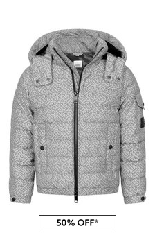 Boys Grey All Over Logo Padded Jacket
