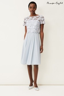 Phase Eight Natural Brandie Lace Bodice Chiffon Dress