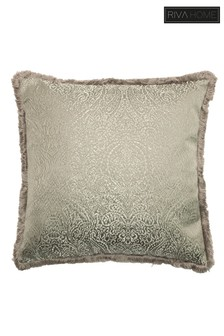 Coco Jacquard Fringed Cushion by Riva Home