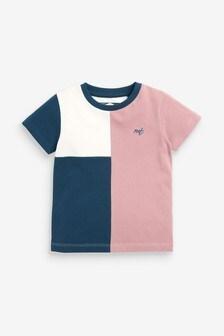 Pink/Navy Colourblock Pique T-Shirt (3mths-7yrs)