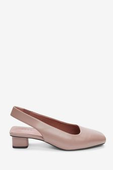 Rose Extra Wide Fit Leather Slingback Block Heel Shoes