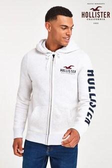 Hollister Grey Logo Zip Through Bomber Jacket
