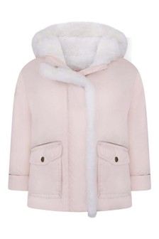 Girls Pale Pink Hooded Padded Jacket
