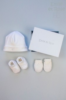 Emile et Rose White Hat Bootee & Mitt Gift Set
