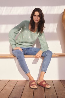 Mid Blue Ripped High Rise Authentic Skinny Jeans