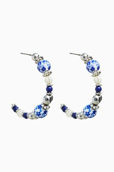 Silver Tone/Blue Beaded Hoop Earrings