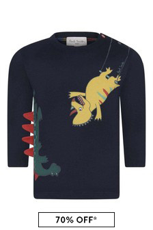 Baby Boys Navy Cotton Dinosaur Print T-Shirt