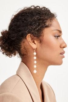 Gold Tone Freshwater Pearl Long Drop Earrings