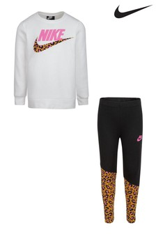 Nike Little Kids White Wild Top And Leggings Set