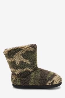 Khaki Camo Slipper Boots (Older)