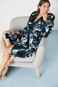 Navy Floral Supersoft Fleece Robe