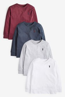 Berry/Navy 4 Pack Stag Embroidery T-Shirts (3-16yrs)