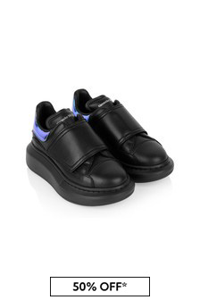 Kids Black Leather Touch Fastening Trainers