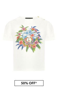 Versace Baby Girls White Cotton T-Shirt