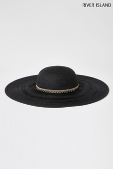 River Island Black Sparkle Brim Floppy Hat