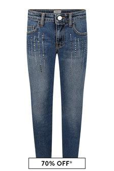 Girls Blue Cotton Denim Jeans