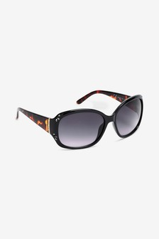Black/Tortoiseshell Effect Cut-Out Detail Square Sunglasses
