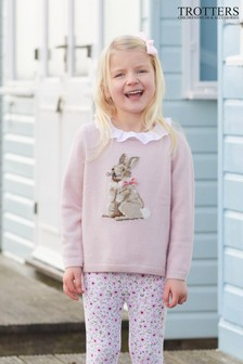 Trotters London Pink Bunny Jumper