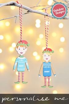 Personalised Adult Elf Bauble by Oakdene
