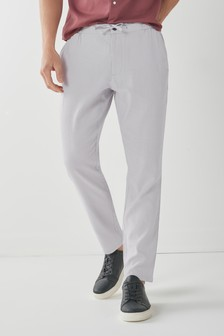 Light Grey Regular Fit Elasticated Waistband Linen Blend Trousers
