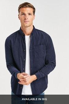 Navy Regular Fit Long Sleeve Cord Shirt