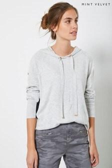 Mint Velvet Grey Blocked Knitted Hoody