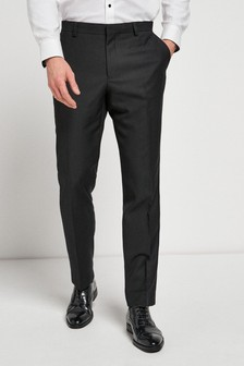 Black Tailored Fit Textured Suit: Trousers
