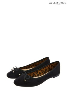 Accessorize Black Sophia Bow Ballerinas