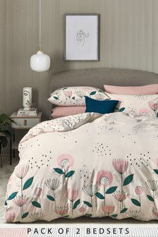 2 Pack Cotton Rich Retro Floral Duvet Cover And Pillowcase Set