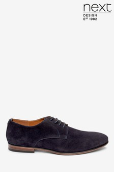 Navy Microsuede Derby Shoes
