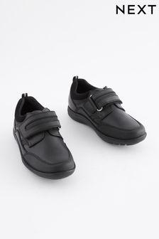 Black Narrow Fit (E) Leather Single Strap Shoes