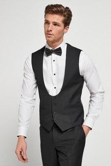 Black Textured Suit: Waistcoat