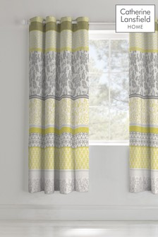 Oriental Birds Lined Eyelet Curtains by Catherine Lansfield