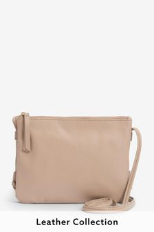 Nude Leather Across-Body Bag