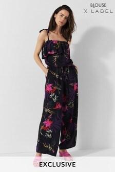 Mix/Blouse Kimono Print Jumpsuit